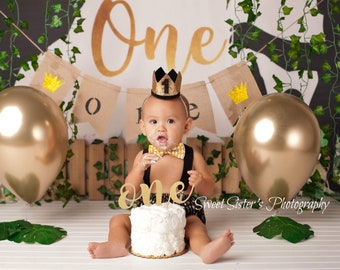 King Of The Wild Things Outfit One Cake Smash Boys Party Crown Year Boy Black Gold Birthday Tie