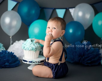 Boy Cake Smash Outfit Baby Bow Tie And Suspenders Diaper Cover First Birthday Photo Prop