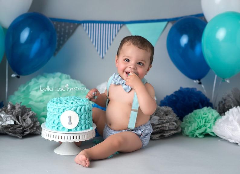 Boy Smash Cake Outfit Vintage 1st Birthday Blue