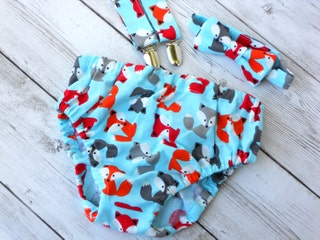 Woodland 1st birthday, fox first birthday, forest birthday outfit, boy cake smash outfit, bow tie and suspenders, tie and diaper cover