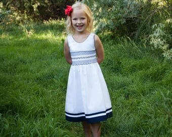 White and Navy Smocked Dress