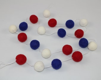 Sale! Patriotic Felt Ball Garland/Banner! Parties, weddings, holiday decorations, baby showers, nursery decor! Red, White, and Blue