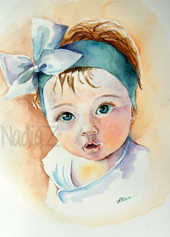 mother gift for new parents custom kid and infant portrait original watercolor portrait father,birthday,christening and baptism  gift