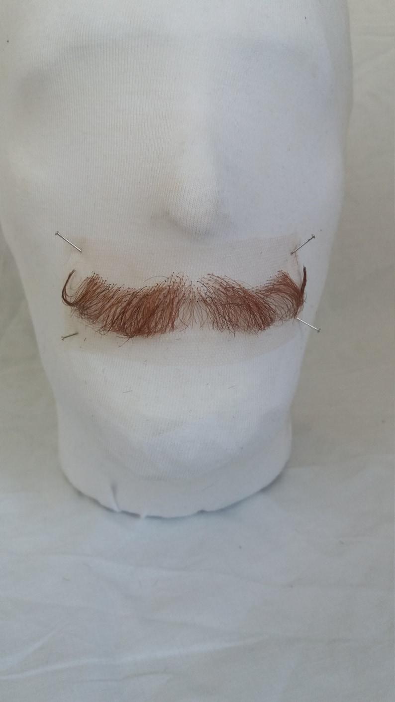 Quaity Brown  Ginger Hand Knotted Fine Lace Human Hair Moustache Postiche Film Theatre TV Fancy Dress