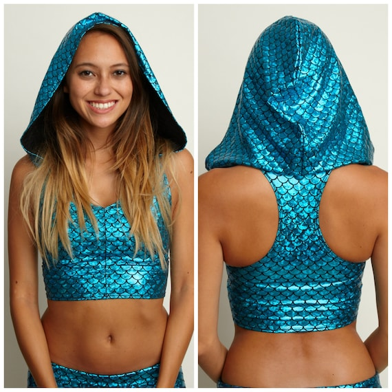 e1c3ad6f82f82a Hooded holographic Tank Crop Top Festival Clothes Hologram