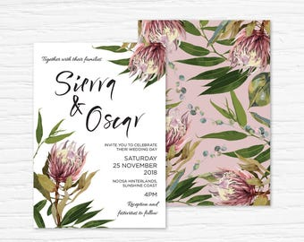 Wedding Invitation Printable, Australian, Protea, Eucalyptus Leaves, Gum Leaves, Native Flowers, Rustic, Nature, Blush, Spring, Floral