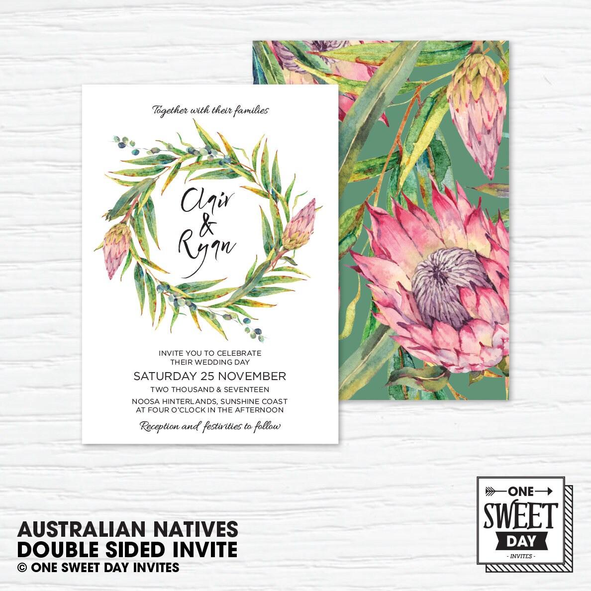 Protea Wedding Invitation Printable Australian Eucalyptus