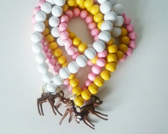 wooden beads DEER necklace for toddler and girls