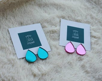 Turquoise pink mirroring drop stud earrings