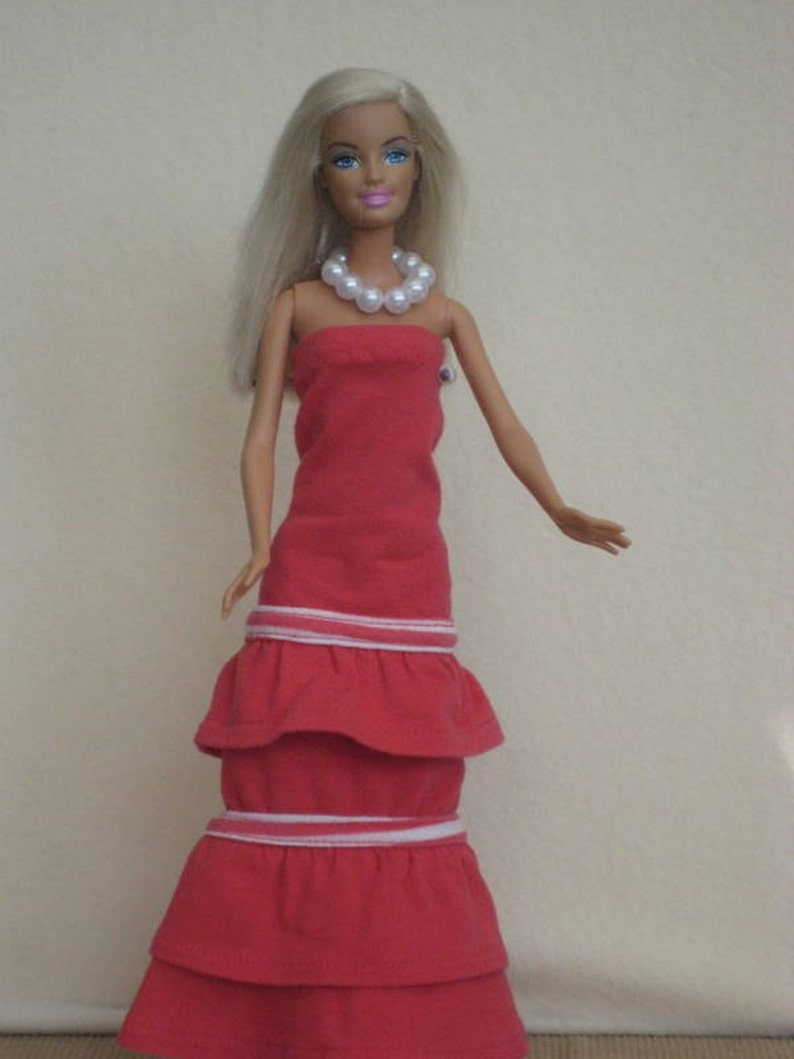 Cute Barbie Doll Clothing item Peach /& White Long Wrap Dress Handmade