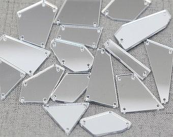 50pcs Crystal/Sliver Acrylic Mirror Sew On Rhinestones, Many Shape Strass, Sequin Flat Buckle, DIY Handmade Clothes Patch, Sew On Rhinestone