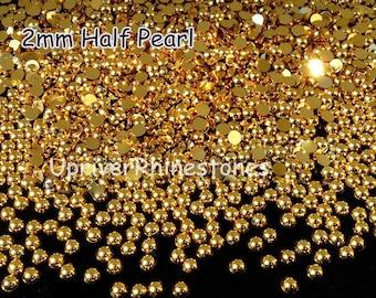2mm 2000pcs Half Pearls, Non Hotfix Rhinestones, Silver Flatback Beads, Gold Flatback Beads, Half Round Loose Bead Pearls, Hemisphere Pearls