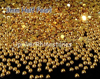3mm 2000pcs Half Pearls, Silver/Gold Pearls, Silver Flatback Beads, Gold Flatback Beads, Half Round Loose Bead Pearls, Hemisphere Pearls