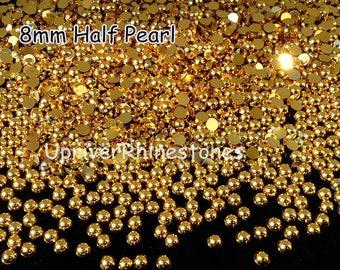 8mm 2000pcs Half Pearls, Non Hotfix Rhinestones, Silver Flatback Beads, Gold Flatback Beads, Half Round Loose Bead Pearls, Hemisphere Pearls