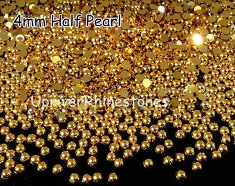 4mm 2000pcs Half Pearls, Non Hotfix Rhinestones, Silver Flatback Beads, Gold Flatback Beads, Half Round Loose Bead Pearls, Hemisphere Pearls