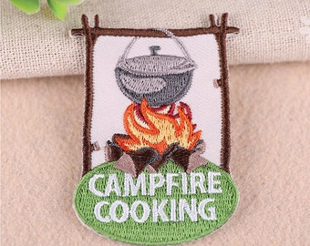 Campfire Cooking Patch Iron On Sew Embroidered For Jacket Jeans DIY Kid HE2309
