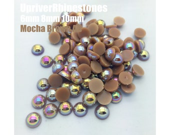 6-10mm 1000pcs  Mocha Brown AB  Half Pearls, ABS Flatback Pearls, Flat Back Half Pearl Cabochons, DIY Designs, Garment Jewelry Supplies