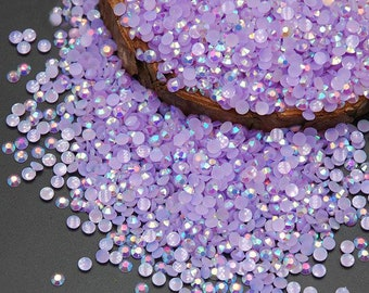 Light Amethyst AB 2000pcs 2mm 3mm 4mm 5mm Jelly Rhinestones, Flatback Resin Rhinestones, Nail Art DIY Deco Bling Kit Supplies Embellishment
