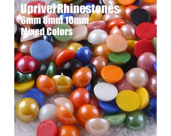 10-14mm Mixed Colors Half Pearls, Flatback Ceramic Pearls, Flat Back Half Pearl Cabochons, DIY Designs, Garment Jewelry Accessories/Supplies