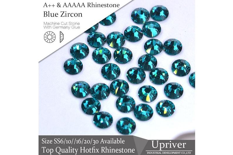 de21dd190d A++ Hotfix Rhinestones, Blue Zircon Flatback Stone, Iron-On Glue Fixed  Strass, Crystal Glass Flatback DMC Rhinestones,Craft Supplies,Garment
