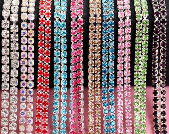 10yards/roll Many Colors Rhinestone Chain, Silver Base Crystal Glass Chain, Close Rhinestone Cup Chain, Sewing on DIY Beauty Accessories