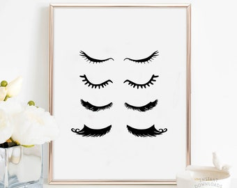 graphic regarding Printable Eyeliner Stencil referred to as Wakeup and Make-up Printable Elegance Place Decor Make-up Etsy