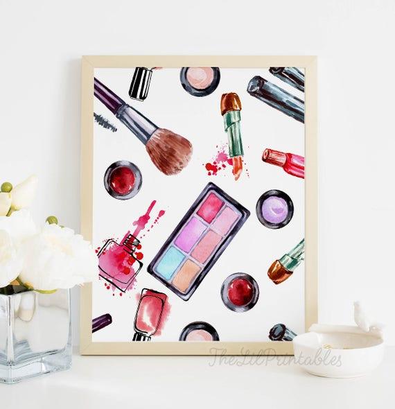 Makeup Printable Cosmetic Wall Art Beauty Room Wall Art | Etsy