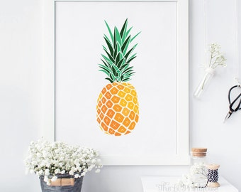 Pineapple Wall Art Printable, Printable Pineapple, Pineapple Print, Instant Download, Printable Home Decor, Tropical Print