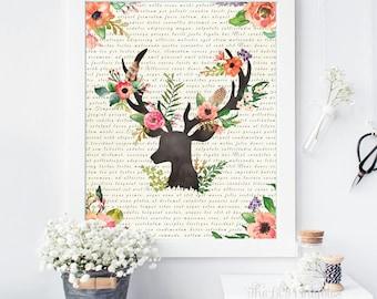 Ciervos de flores para imprimir, imprimir diccionario, ciervos para imprimir, impresión de la pared, imprimir asta, Flower Print, primavera flor asta impresión, Floral Print
