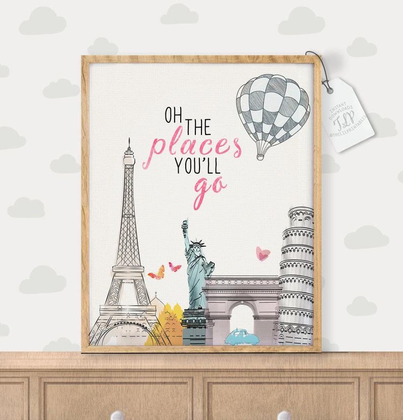 Oh The Places Youll Go Printable Nursery Quote Kids Etsy