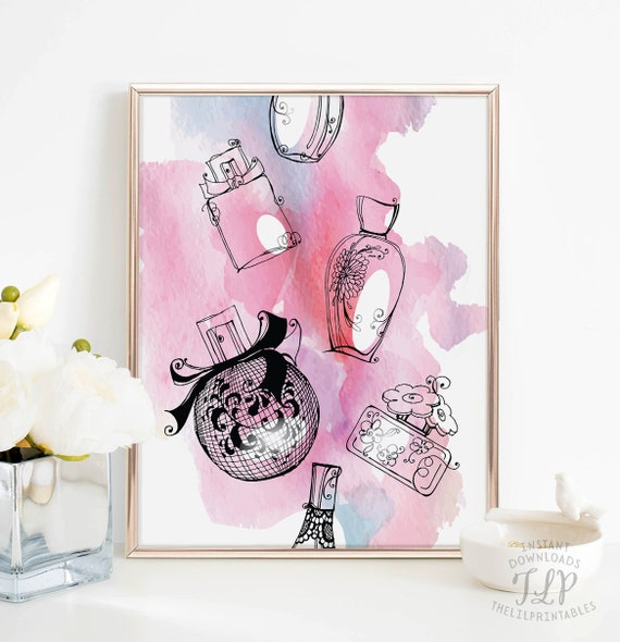 perfume print fragrance print pink wall art pink teen room etsy rh etsy com Black and Pink Teen Room Basic Pink Teen Rooms