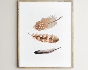 Feather art, feather print, brown feather print, brown feather, feather wall art, nature wall art, feather printable, feather design