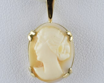 Vintage Oval Lady Cameo Pendant, 9ct Yellow Gold, Coral
