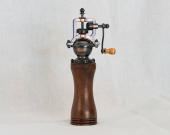Walnut Pepper Grinder- Hand turned gift, kitchen accessory, housewarming or wedding present. OOAK, made by hand