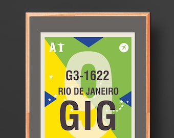 Rio de Janeiro Airport - Brazil - Digital Poster to be downloaded and printed - Wall-Art, Illustration, Home Decor
