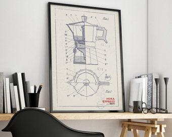 Coffee Machine Poster,  Moka Express - Italy - Technical draw, Poster, Digital Print, Wall-Art, Home Decor