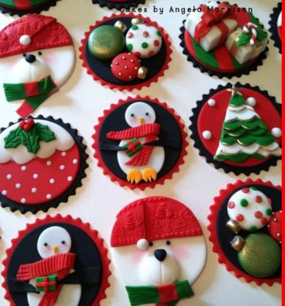 Pdf Tutorial Christmas Cupcake Toppers Fondant Cakes By Etsy