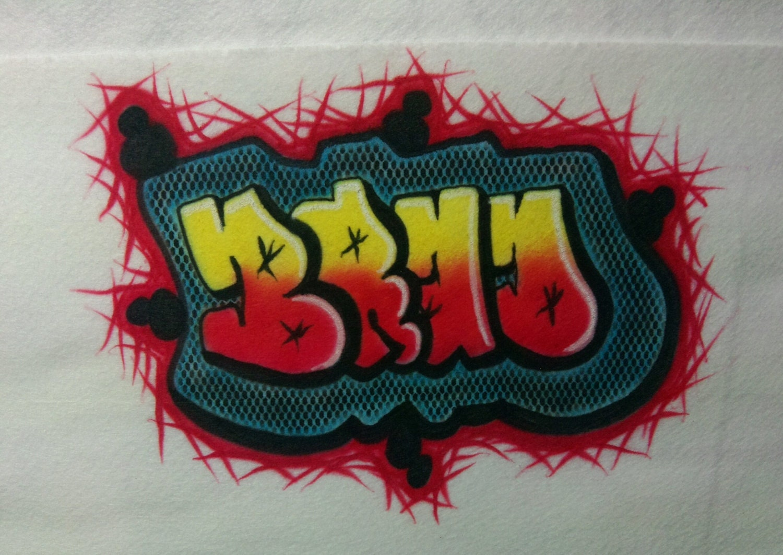 Airbrush Shirt Graffiti Name Graffiti Design T Shirt Or Etsy