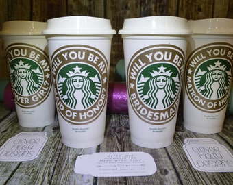 Will You Be My Bridesmaid? Proposal - Personalized Cup • Mug • Tumbler with Name (Reusable Starbucks Cup) Bridesmaid proposal gift idea