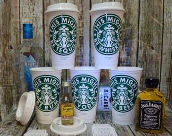 """Starbucks Coffee Cup """"This Might Be Vodka"""" or Wine, Beer, Rum, Whiskey (Genuine Personalized Starbucks Cup, Mug, Tumbler) [fun gift idea]"""