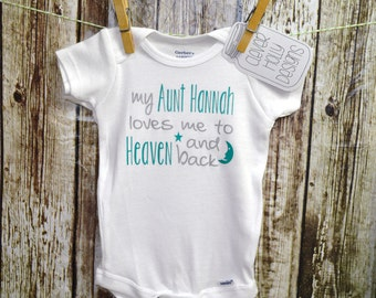 "Baby Gift From Aunt - ""My Aunt Loves Me To Heaven & Back"", Personalized Aunt Onesie (long sleeve or short sleeve)[Niece Aunt baby gift idea]"