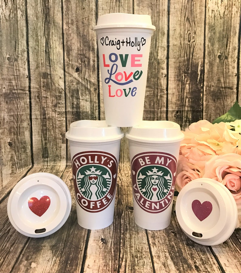 3dd8c28a0fd Starbucks Cup LIMITED EDITION Love Love Love • Personalized Coffee Cup •  Custom Coffee Mug [girlfriend gift, Valentines gift, gift for her]