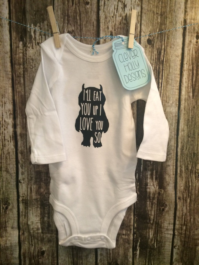short, long sleeve bodysuit Where the Wild Things Are Baby Onesie I/'ll Eat You Up I Love You So Unisex Baby, gift idea, Maurice Sendak