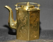 Chinese vintage polished brass decorative teapot, 6.5 inches tall, mid 20th century