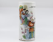 Antique Chinese Republic period porcelain brush pot, 11 inches tall, 1940s
