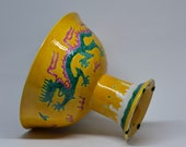 Contemporary porcelain Chinese dragon footed dish, 8 inches wide and 6.5 inches tall, 1980s