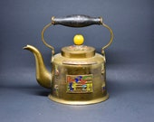Chinese vintage brass and cloisonne teapot, ca. 1950s