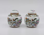 Vintage Chinese porcelain pair ginger jars, 5.5 inches tall, 1940s