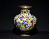 Chinese antique export cloisonné vase, 10 inches tall, ca. early 1900s
