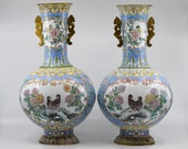 Vintage Chinese enamel large pair vases ,15 inches tall, 1970 - 80s